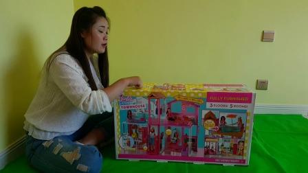 少儿玩具:芭比两层豪华大别墅拼装过家家玩具