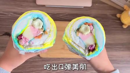 街头小吃,棉花糖冰淇淋麦片卷。