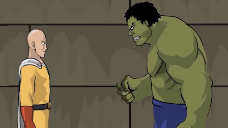 绿巨人来日本旅游,不料把城市打得稀巴烂,一拳超人得知后收拾他