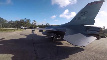 头戴摄像机记录下机械师检查F-16战斗机过程