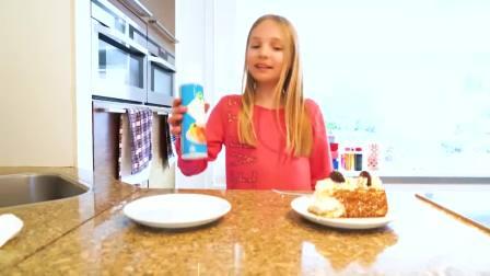 国外萌宝时尚,小女孩用气球制作蛋糕,真厉害呀