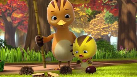 萌鸡小队:栗子里面的象鼻虫叫爸爸,小松鼠要当爸爸,可开心了!