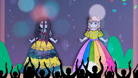纸娃娃创意手工:小凯丽和吸血鬼女孩成为朋友,给她们制作彩虹裙