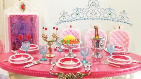 芭比娃娃玩具:芭比娃娃公主餐厅家具玩具