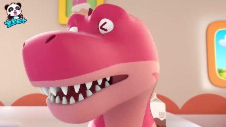宝宝巴士:甜小圈摸着恐龙尾巴当玩具玩,转过头灯笼大的眼睛对他眨眨眼吓懵了