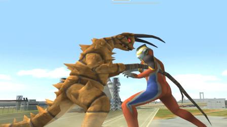 奥特曼格斗游戏第二季:大地之光盖亚用光之冰刀打败地底怪兽古墩