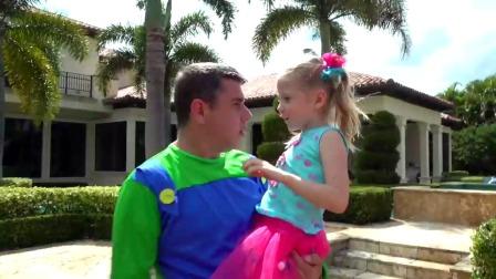 斯泰西和爸爸一起清洗玩具小屋!