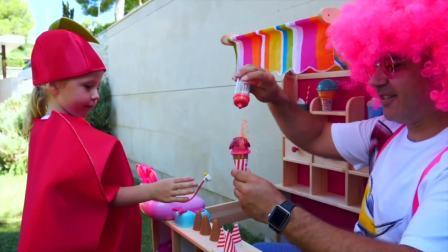 美国少儿时尚,宝爸同小公主一块玩游戏,真有意思呀