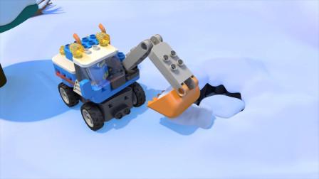原来挖掘机还能这么玩,机器人开挖掘机铲雪