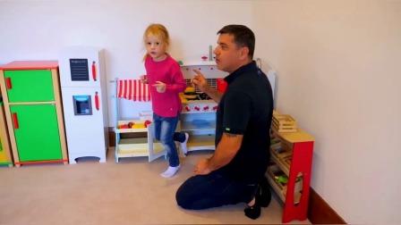 斯泰西和爸爸在有趣的房子里玩游戏
