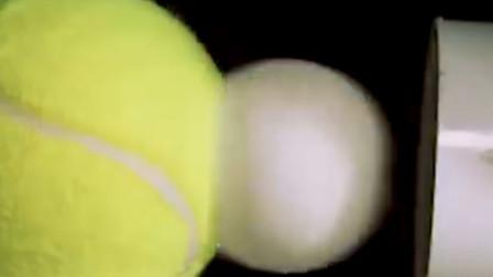 当时速450千米的乒乓球撞上网球