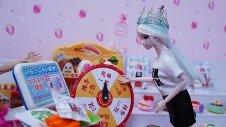 冰公主转转盘抽到5包辣条不想要,又抽了一次却后悔了