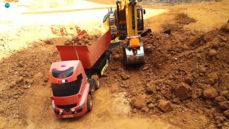 遥控工程车,红色自卸车黄色挖掘机搬运泥土铺路真棒,儿童玩具