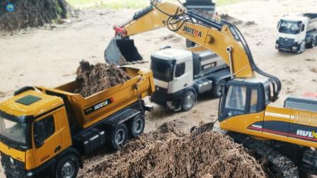 遥控工程车施工,自卸车车队挖掘机运输泥土铺路,儿童玩具
