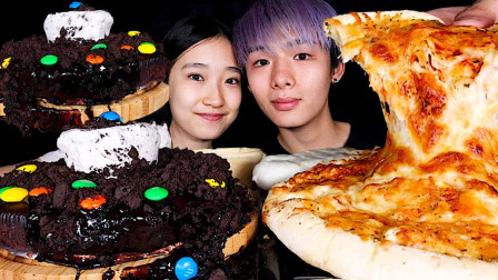 【咀嚼音】巧克力奥利奥蛋糕、马苏里拉芝士披萨