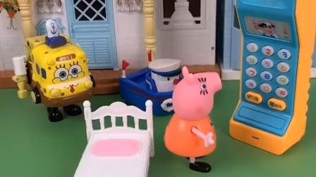 猪妈妈在家里睡觉,家里电话响了,那是乔治打的电话