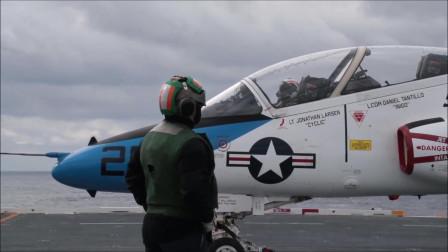 """T-45""""苍鹰""""教练机进行电磁弹射与降落拦截训练"""