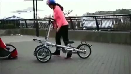 牛人发明出可以骑可以推的婴儿车!