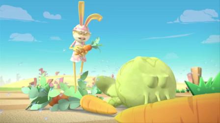 蛋计划:小兔子正在拔萝卜,突然出现一只小可爱,简直太萌了