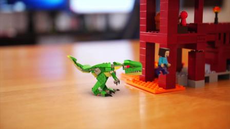 我的世界动画:史蒂夫好不容易建好传送门,一头恐龙就穿越过来