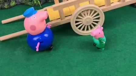 乔治可喜欢猪爷爷了,他来接乔治放学,乔治可高兴了