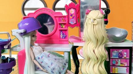 叶罗丽故事 冰公主和灵公主去理发店染发 谁的头发染的最好看呢