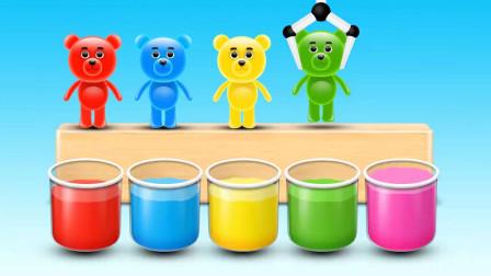用彩色染料给小熊染色
