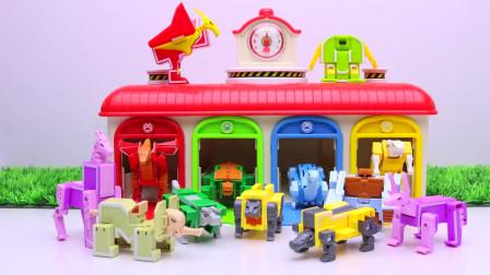 用彩色积木组装一个游乐场