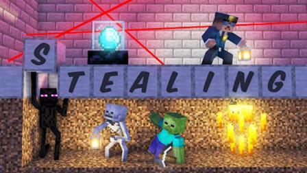 我的世界动画短片:怪物学院智取钻石挑战 挖地道是个好办法