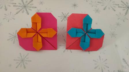 四叶草爱心折纸,满满的都是爱和祝福,大家记得收藏哦
