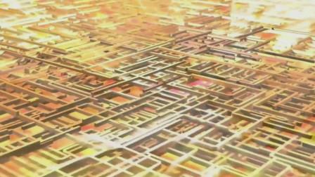 抛光CPU核心放大1万倍观察到的微电路,犹如城市卫星3D俯视地图