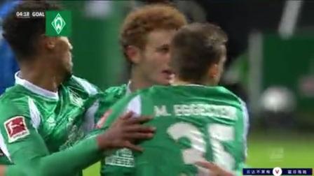 第5分钟云达不莱梅球员M·埃格施泰因进球 云达不莱梅1-0霍芬海姆
