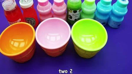 彩色的粘土和假水制作西瓜杯玩具,认识颜色,幼儿益智手工DIY