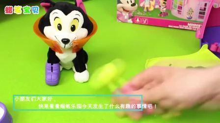 少儿卡通动画遥控仿真消防车和迪士尼米老鼠小汽车玩具