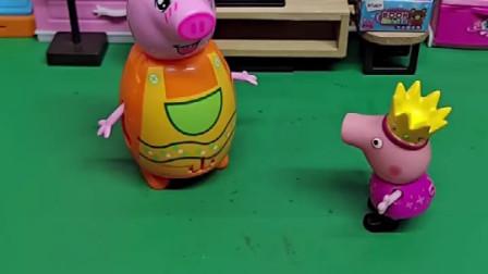 佩奇想让猪妈妈抱抱,可猪妈妈现在很不方便,抱不了佩奇!