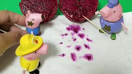 猪爷爷说猪爸爸买的水果不好,乔治佩奇还看见了,他们都觉得好笑