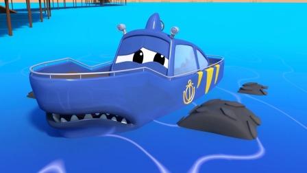 鲨鱼大脚卡车马蒂需要到海里取出排球,大脚卡车镇,汽车城番外篇