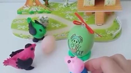 有趣的幼教玩具:乔治拿这彩蛋到两只鸡这来看见了奇迹