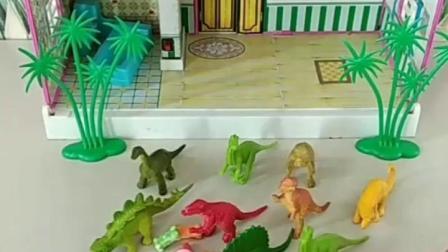 有趣的幼教玩具:乔治要请小恐龙吃糖果。