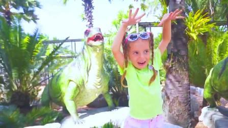 国外少儿时尚,小女孩来到动物博览园,真有趣啊