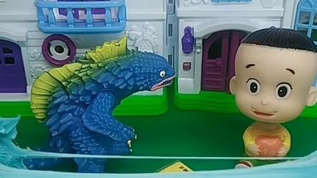 怪兽玩玩具了,可是他不会玩了,大头儿子就教他玩了