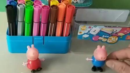 有趣的幼教玩具:佩奇和乔治一起画画