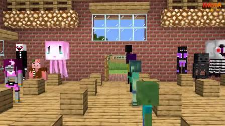 我的世界动画-#怪物学院#-丧尸女孩配对挑战-Haha Animations