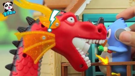 宝宝益智玩具,喷火龙吃烧烤辣得喷火小福家被烧了