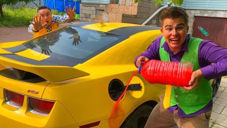 熊孩子恶搞老爸:将油漆倒进汽车油箱中,结果你猜怎么着?