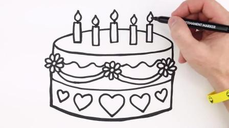 跟着茶猫一起来画简笔画  生日蛋糕