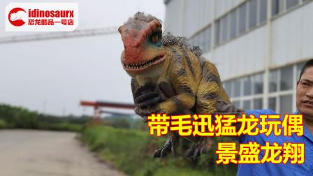 带毛迅猛龙木偶模型 - 手持恐龙模型制作