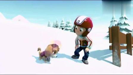 亲子动漫儿童益智动画汪汪队,阿奇用车帮莱德下到雪山斜坡