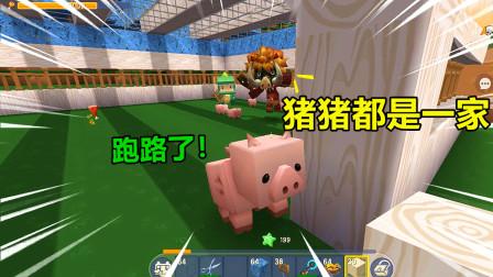 迷你世界:百倍联机27!猪猪都是一家人,辛苦养的猪就被拐跑了