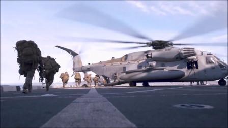 全副武装的海军陆战队乘坐直升机降落预定地点